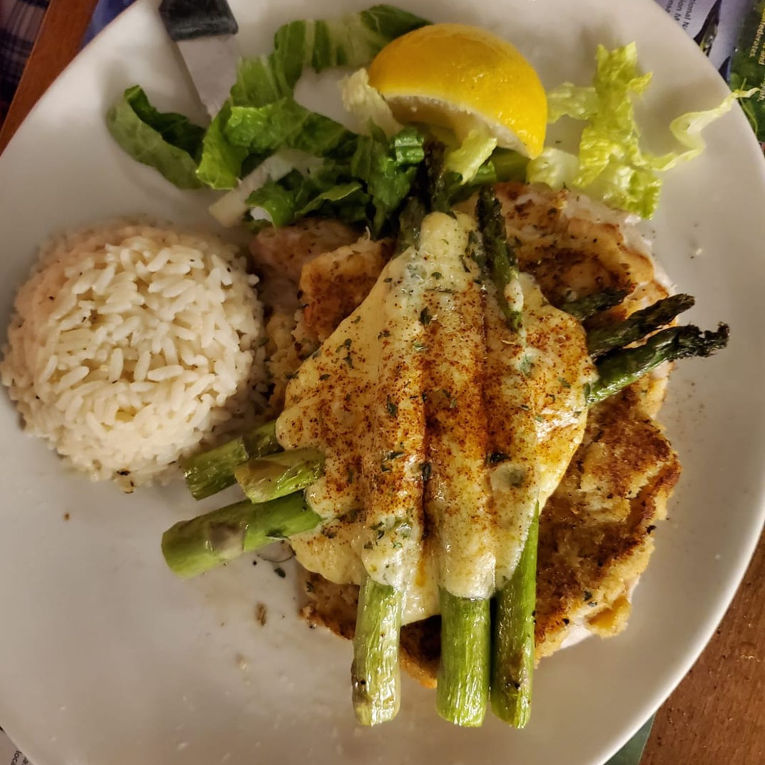 Asparagus and chicken with side of rice