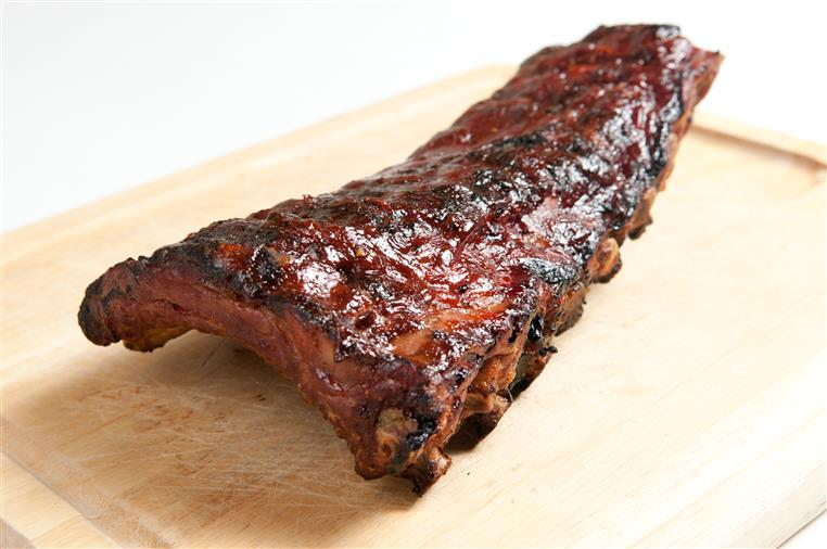 a rack of ribs