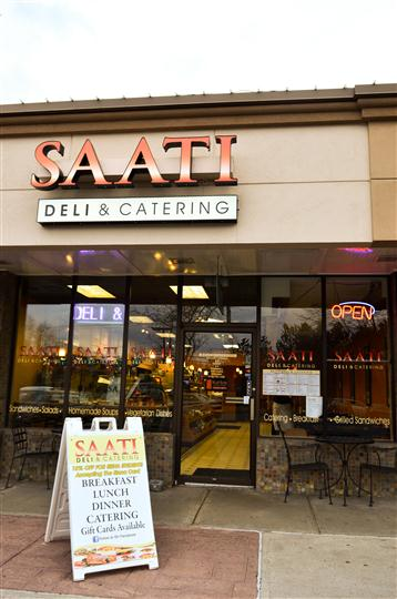 exterior view of the saati deli and catering storefront