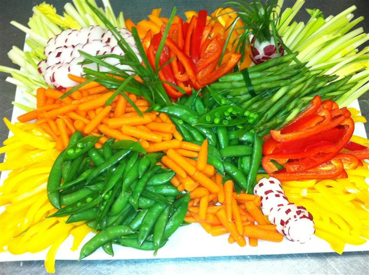 mixed veggies on a platter for an event