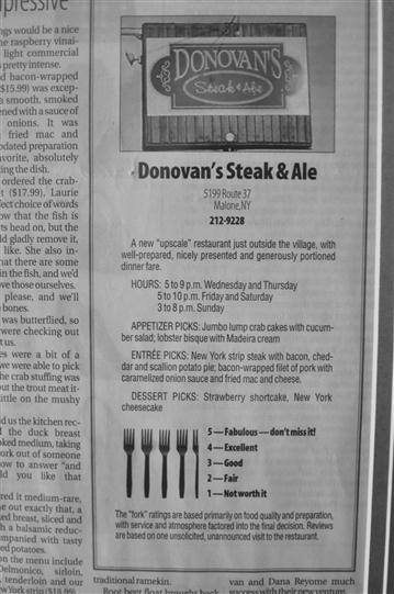 Donovan's Steak and Ale in a newspaper ad.