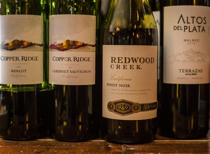 One bottle of Copper Ridge Merlot, Copper Ridge Cabernet Sauvignon, Redwood Creek Pinot Noir and Altos Del Plata Malbec.