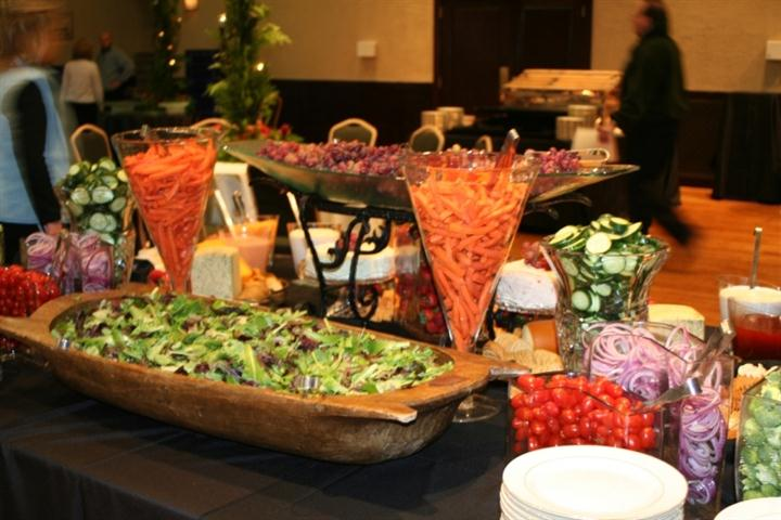 various food on a catering table