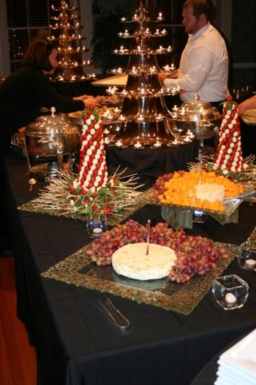 catering table with various food
