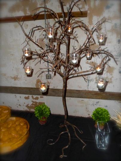 small tree decorated with candles