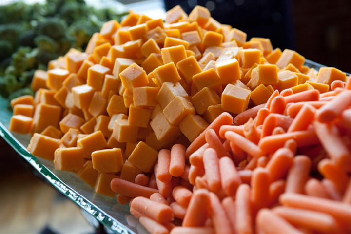 cubes of cheese and carrots