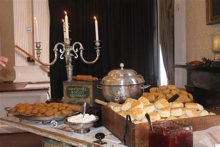 catering table with biscuits