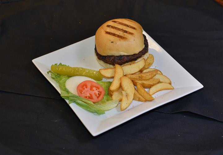 slider with lettuce, tomato and fries on the side