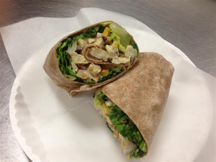 chicken Cesar wrap on a plate