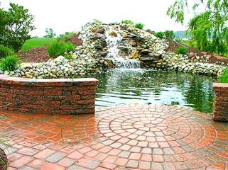 waterfall feature in lagoon style pool