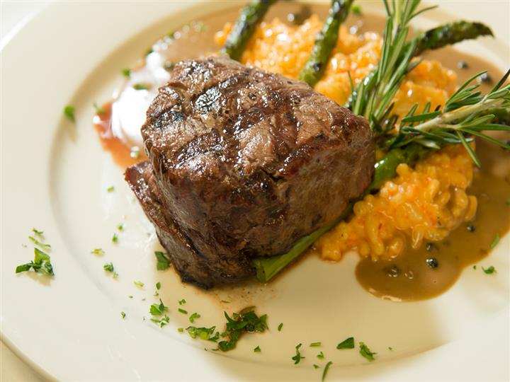 Filet Mignon with Red Pepper Risotto