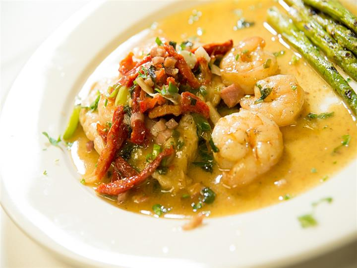 Mixed vegetables on a plate with shrimp