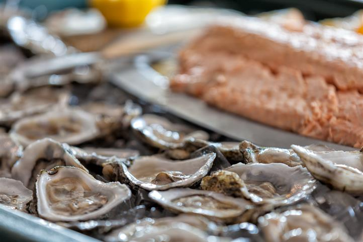 Close-up of oysters on the half shell