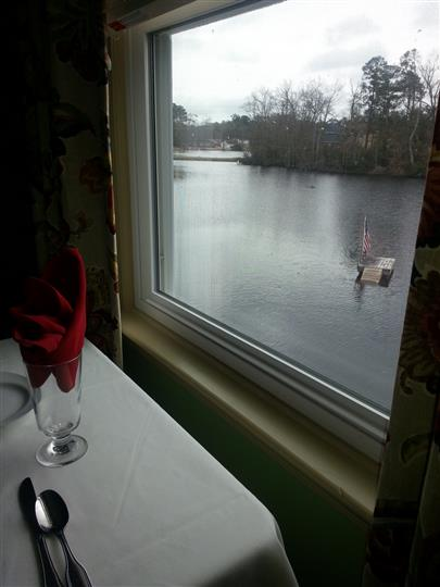 View of lake from a window by a table