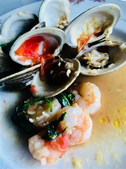 Baked clams and shrimp