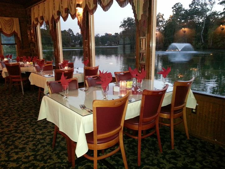 private parties room set up with view of water next door