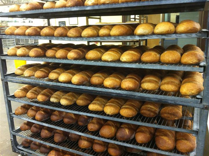 Racks of baked goods.
