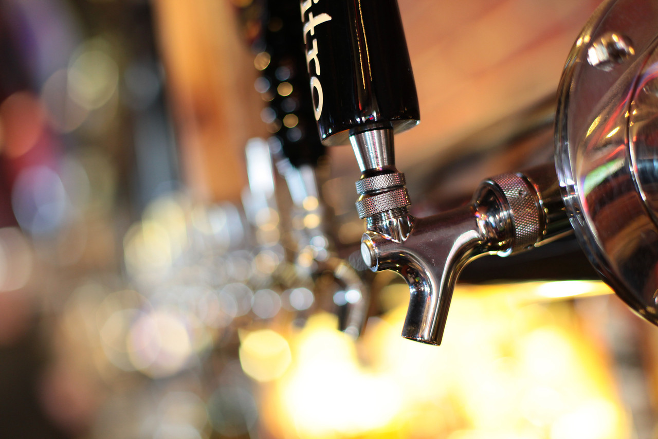 Close-up of a metal beer tap