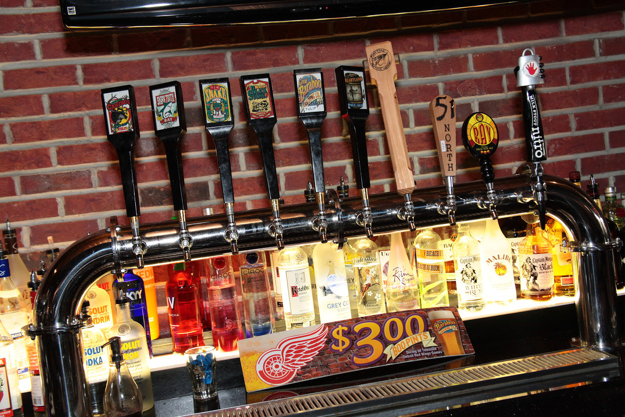 View of an assortment of beer taps