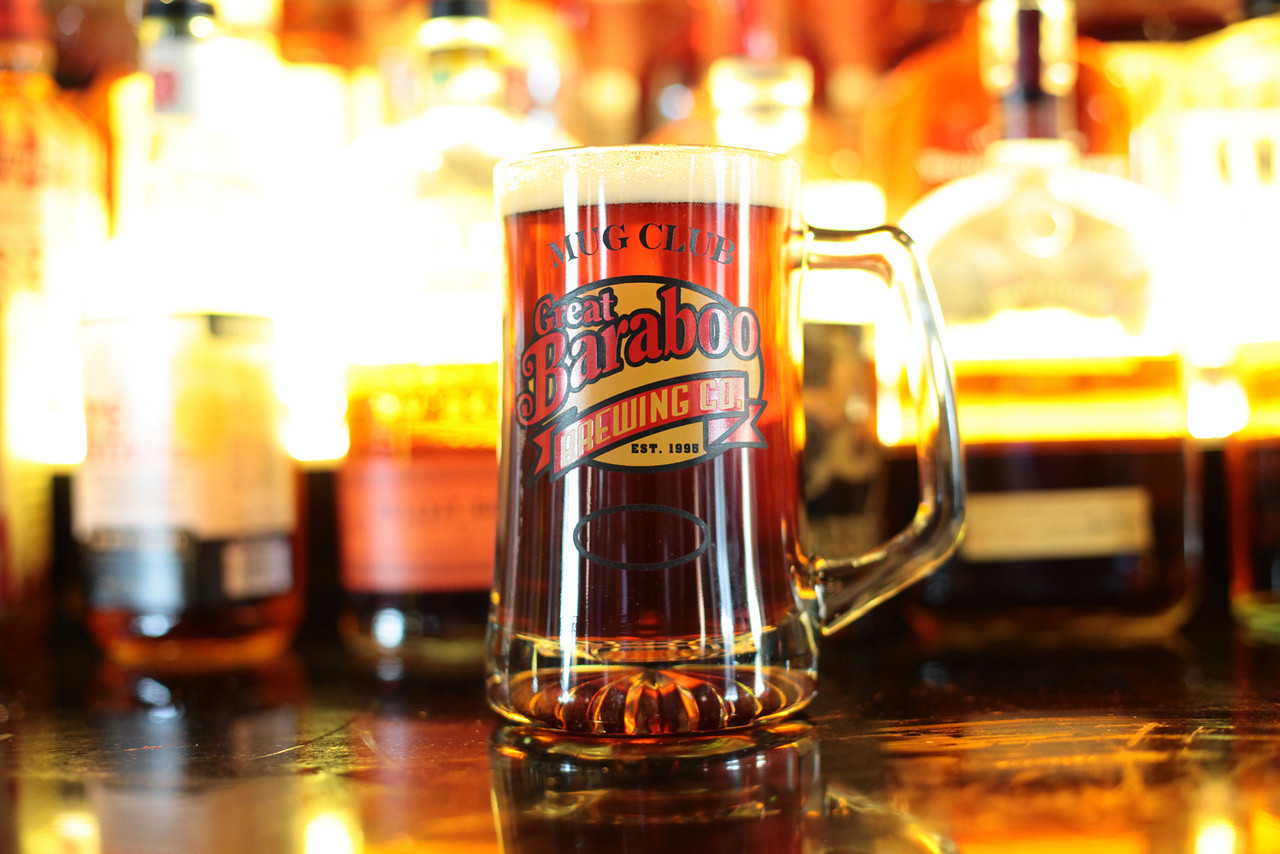 Great Baraboo branded beer mug filled with a lite beer