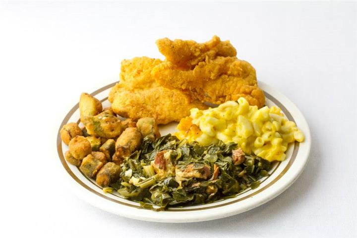 collards, mac and cheese, fried okra and fried chicken