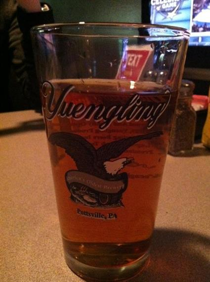 pint glass filled with Yuengling beer