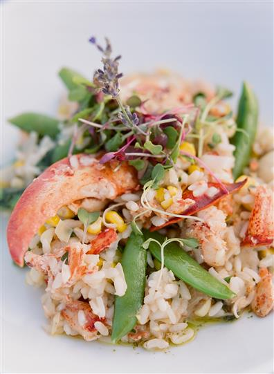 lobster pieces with rice and vegetables