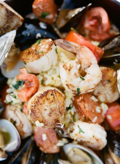 seafood entree with scallops and mussels