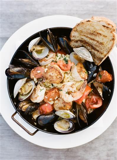 seafood entree with shrimp and mussels