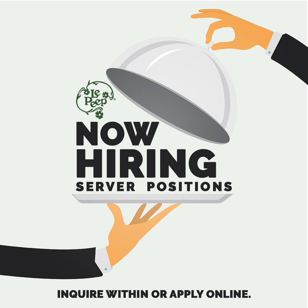 Now hiring server positions inquire within or apply online