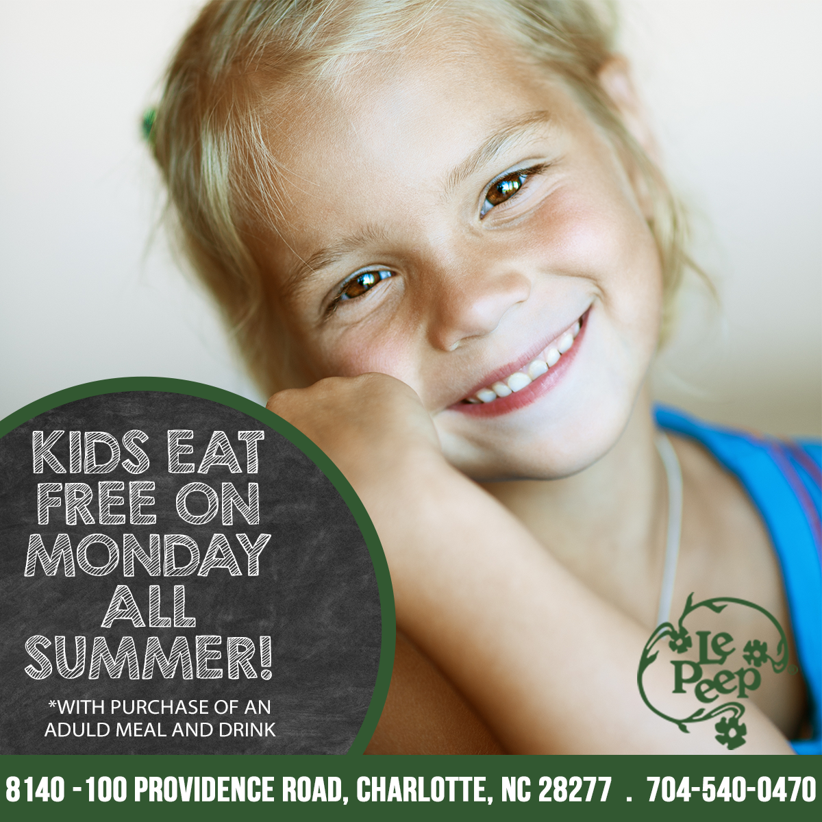 Kids Eat Free on Monday All Summer. With purchase of an adult meal and drink