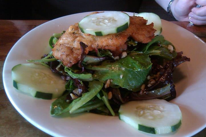 Mixed greens salad dish topped with chicken and cucumber slices