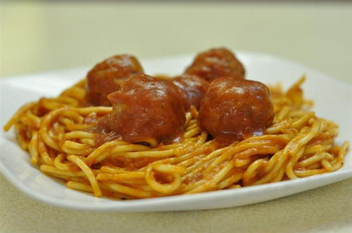 Spaghetti and Meatballs on a platter