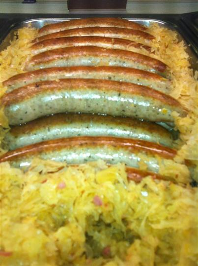 Sausages being shown on a display