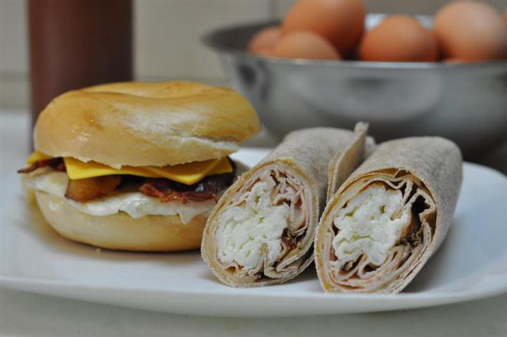 Bacon, egg, and cheese bagel with turkey and cheese wrap