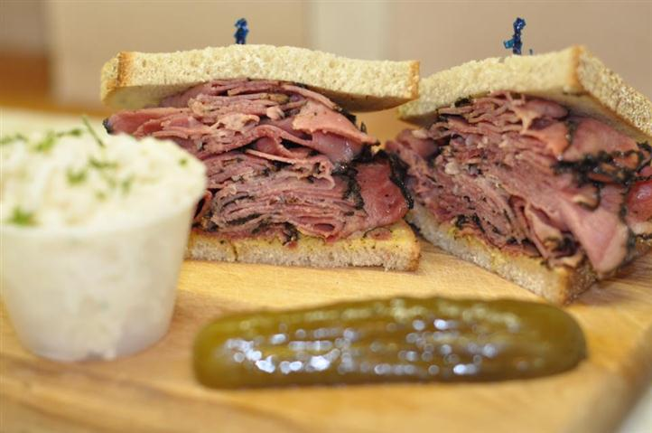 Ham Sandwich will pickle slice and Condiment