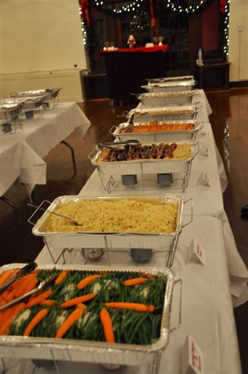 Multiple foods at catering hall