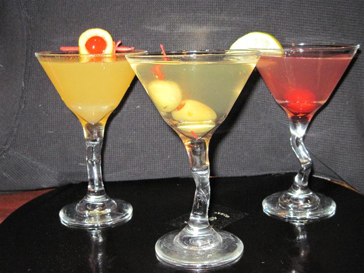 Cocktails with fruit garnishes