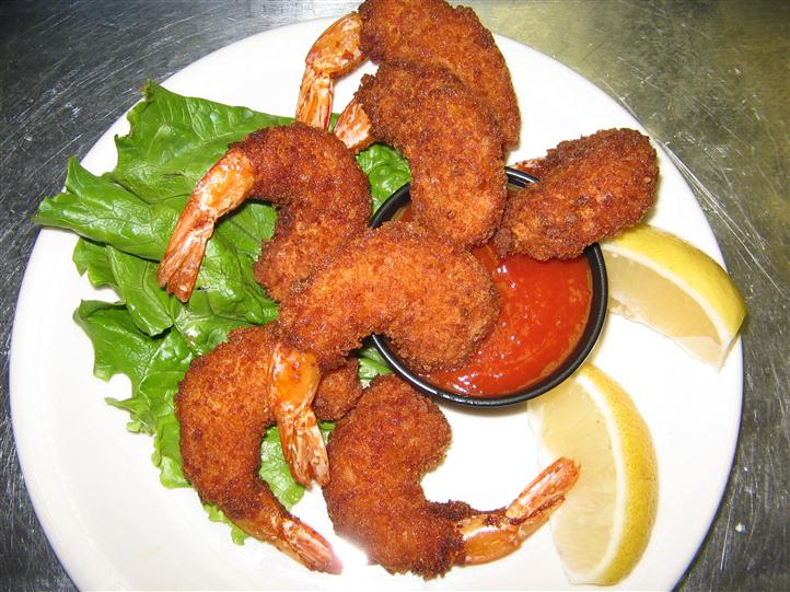 Fried shrimp with marinara sauce