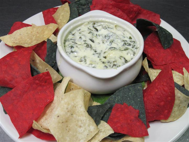 Chips with spinach dip