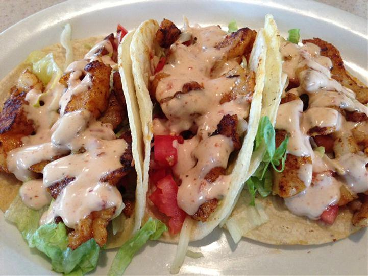 three Fish Tacos with extra sauce