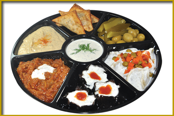 tray with an assortment of food items