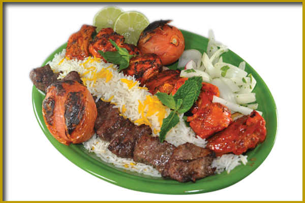 beef and chicken kabobs with rice