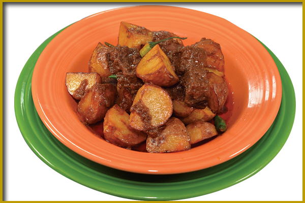 roasted potatoes and beef