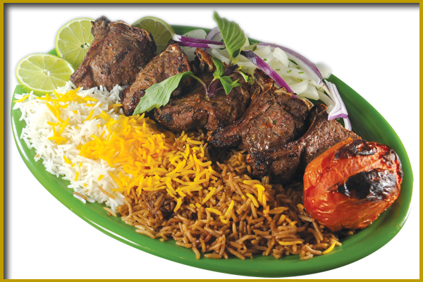 steak kabobs with rice
