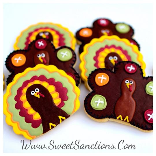Vintage Thanksgiving Turkey Cookies