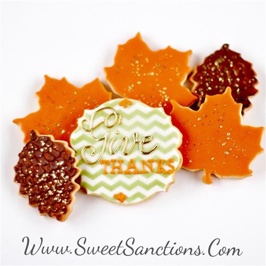 Give Thanks Gold Leaf Thanksgiving Cookies