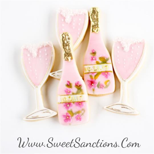 Champagne and Glasses Cookie Set