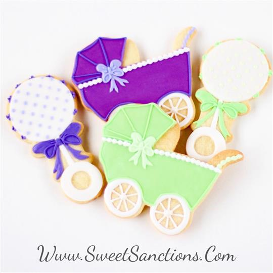Baby Stroller and Rattle Cookies