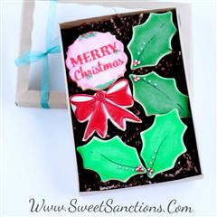Merry Christmas Holly Gift Boxed Cookies